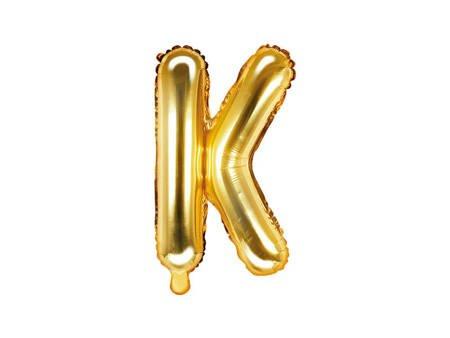 """Balon foliowy Litera """"K"""" - 35 cm - złoty"""