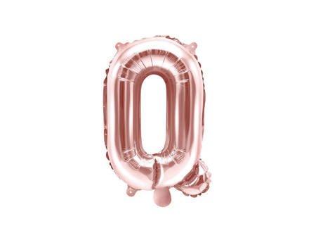 """Balon foliowy Litera """"Q"""" - 35 cm - różowe złoto"""