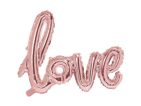 Balon foliowy Love - 73 x 59 cm - różowe złoto