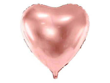 Balon foliowy Serce - 72x73 cm - różowe złoto