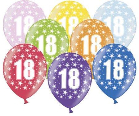 Balony 30 cm - 18th Birthday - 18 urodziny - Metallic Mix - 50 szt.
