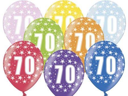Balony 30 cm - 70th Birthday - 70 urodziny - Metallic Mix - 6 szt.