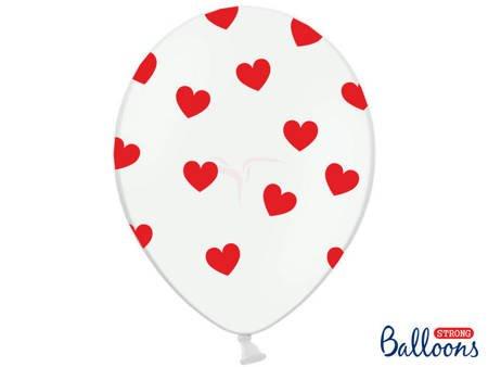 Balony 30 cm - Czerwone Serduszka - Pastel Pure - Białe - 6 szt.