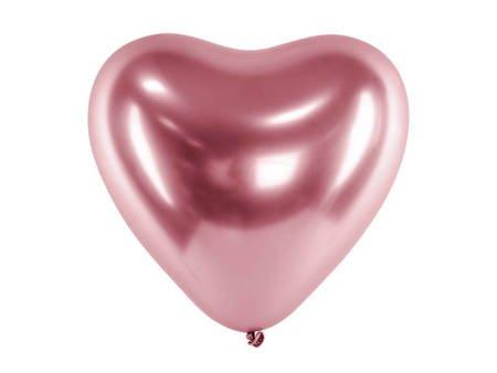 Balony Glossy 30 cm - Serca - różowe złoto - 50 szt.