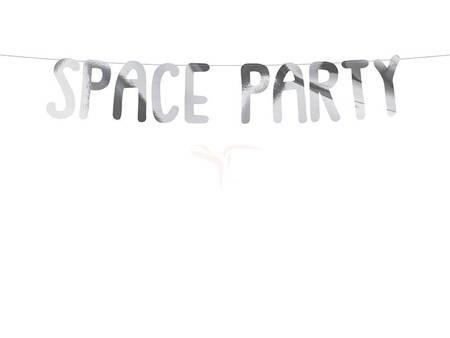 Baner Kosmos - Space Party srebrny - 13 x 96 cm