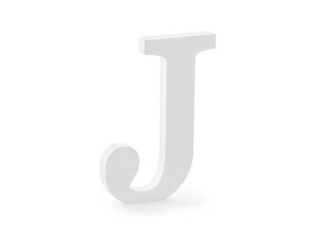 Drewniana litera J - 14,5 x 20 cm - biały