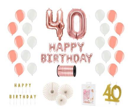 Kompletny zestaw na 40 urodziny - różowe złoto z białymi akcentami