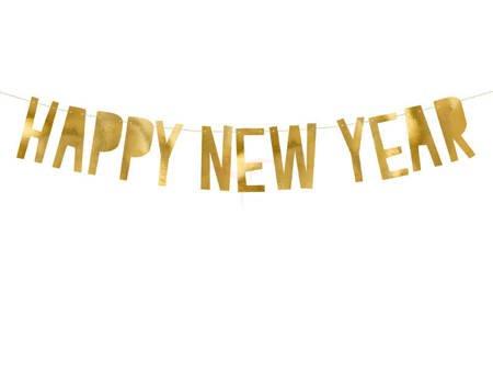 NAPIS BANER - HAPPY NEW YEAR - ZŁOTY - 10 x 90 cm.