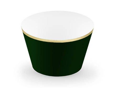 Papilotki na muffinki - 4,8 x 7,6 x 4,6 cm - butelkowa zieleń - 6 szt.