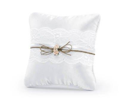 Poduszka pod obrączki - 16 x 16 cm - biała