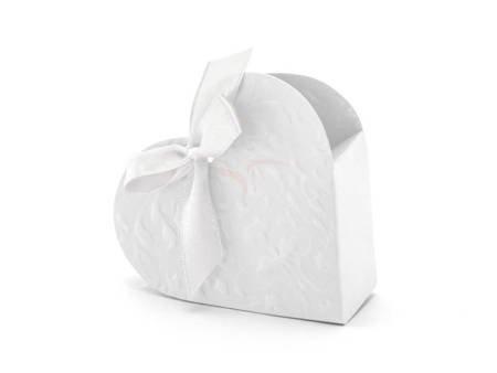 Pudełeczka na prezenty - Serduszko - Białe - 10 szt.