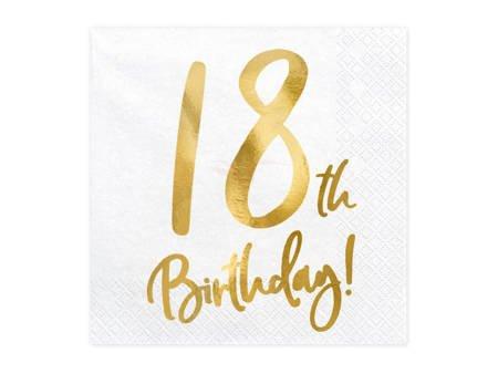 Serwetki 18th Birthday - 18 urodziny - białe - 33x33cm - 20 szt.