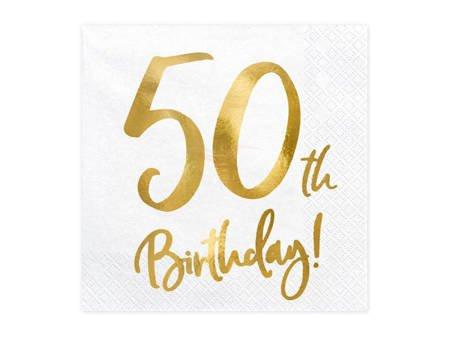 Serwetki 50th Birthday - 50 urodziny - białe - 33x33cm - 20 szt.