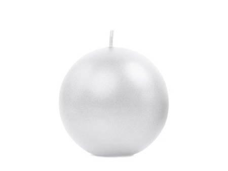 Świeca metalizowana Kula - 6 cm - perła - 10 szt.