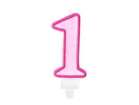 Świeczka urodzinowa Cyferka 1 - jeden - różowa - 7 cm