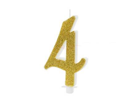 Świeczka urodzinowa Cyferka 4 - cztery - złota - 10 cm