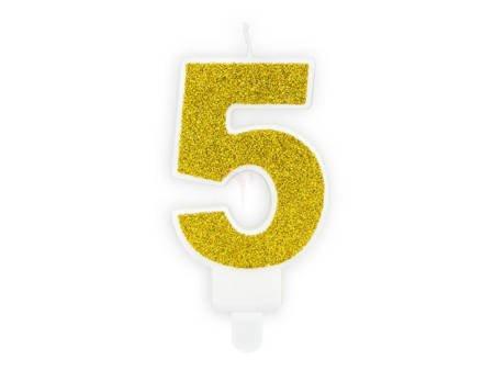 Świeczka urodzinowa Cyferka 5 - pięć - złota - 7 cm