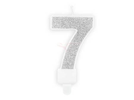 Świeczka urodzinowa Cyferka 7 - siedem - srebrna - 7 cm