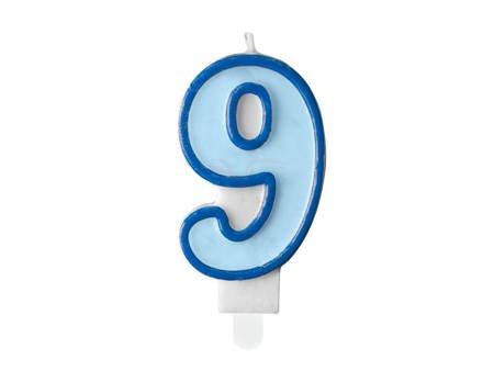 Świeczka urodzinowa Cyferka 9 - dziewięć - niebieska - 7 cm