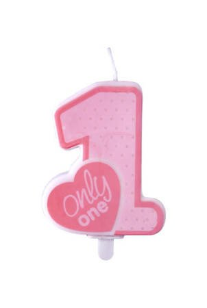 Świeczka urodzinowa Only One - roczek - jasny różowy - 8 cm