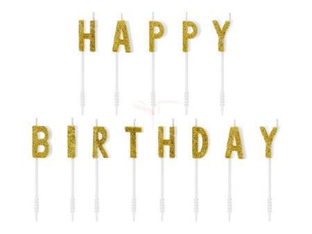 Świeczki urodzinowe Happy Birthday złote - 2.5 cm - 13 szt.