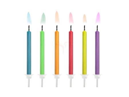 Świeczki urodzinowe Kolorowe Płomienie mix - 6 szt.