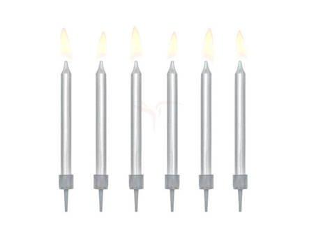 Świeczki urodzinowe gładkie - srebrne - 6 cm - 6 szt.