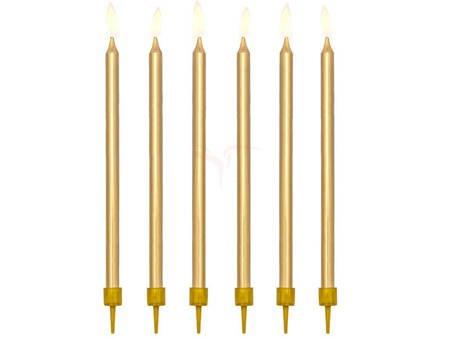 Świeczki urodzinowe gładkie złote - 12.5 cm - 12 szt.